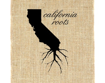 California Roots Unframed Burlap Wall Art, Custom Wall Art, Know your roots, Custom State Outline, Burlap Print