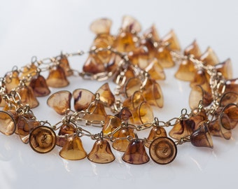 1930s Brown Marbled Celluloid Bells Opera Length Necklace Fall