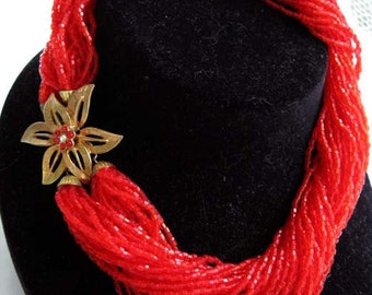 Red Glass Toursade Choker, Flame Red Micro Beads Twist Necklace 36 Strands, Gold and Rhinestones Flower Clasp