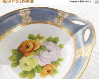 On Sale Antique Hand Painted Noritake Handled Serving Bowl, Cottage Style, Nippon, Tea Party, Vintage, Wedding