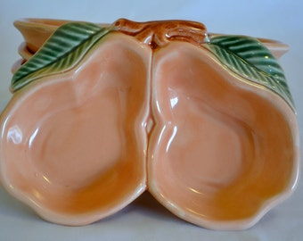 Set of 6 Belmar CA Pottery Pear Dishes for Lazy Susan, 328 Made in USA - Vintage Serving - Party Centerpiece
