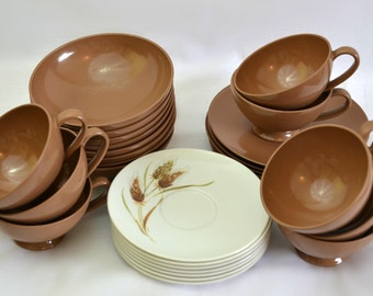 Texas Ware Dishware Starter Set - Melmac Melamine Dishes Warm Chocolate Brown Mixed with White Wheat Pattern - 31 Pieces