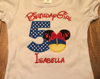 Girls Snow White themed disney birthday shirt