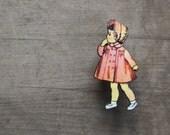 Girls Vintage Fashion Brooch - 50s kids brooch, Fifties Children's Fashion - Pink