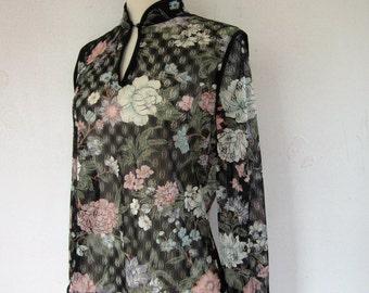 SALE-Vintage Blouse/ Vintage 70's Bohemian Sheer Floral Explosion Blouse/ 1970's Vintage Top