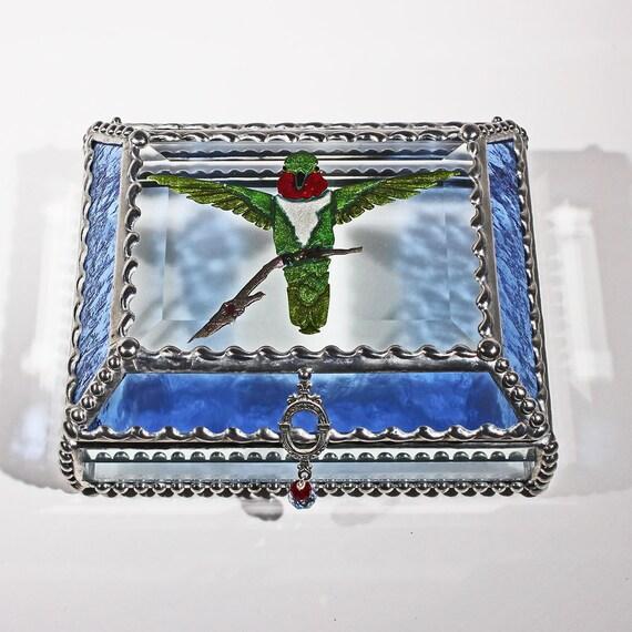 Etched Hand Painted Hummingbird Treasure Box -Treasure Box