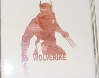 "Laser engraved 4.25"" x 4.25"" Square ceramic tile Wolverine for Coaster or Plaque"