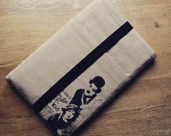 "NEW 13 inch Macbook PRO sleeve, 2 pockets macbook case cover, laptop bag ""chaplin"""