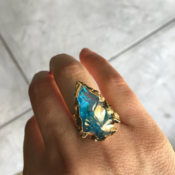 Angel Aura Quartz Ring, boho style