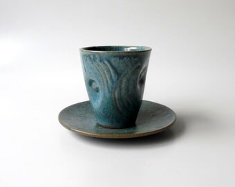 Pottery, Ceramic Cup and Plate, Kiddish Cup and Saucer in Blue with 24k Gold Sparks, Hand Carved Americano Cup, Espresso Cup by Cecilia Lind