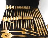 American Gold Flatware Set, 40 Pieces, Stainless, Made in USA