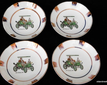 Small Porcelain Dishes/Bowls, Vintage Automobile Bowls, Pope Waverly 1907
