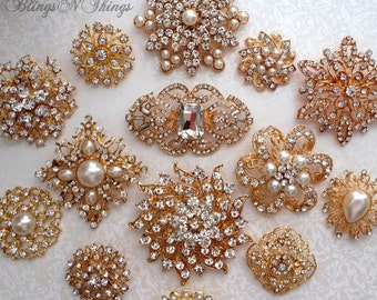 SALE 20,25,30or40 pcs Mix Ex-large Lg Med Bridal Brooch Bouquet GOLD or SILVER Crystal Pearl Rhinestones Brooches Vintage Replicas Wedding