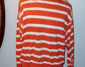Liz Sport Vintage Orange and White Striped Long Sleeve Shirt by Liz Claiborne 100% Cotton Retro Comfy Size Large