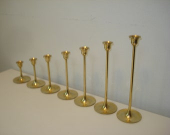 Seven Brass Candlesticks -   Long Slim Taper Retro Candle Holders Decor
