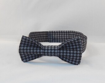 Black And Gray Houndstooth Men's Adjustable Bow Tie