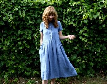 Linen Dress - Blue Linen Dress - Short Sleeved Linen Dress - Handmade by OFFON