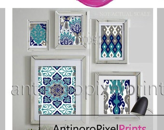 Ikat Teal Navy Greys Collage Art Wall Gallery - Set of (5) Prints - (1) 11x14,(1) 8x10, (2) 5x7 (1) 4x6 (UNFRAMED) #268849116