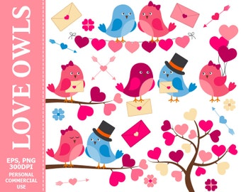 50% OFF SALE Love Birds Clip Art - Bird, Hearts, Love, Wedding, Arrows, Branch, Valentine's Day Clip Art. Commercial and Personal u