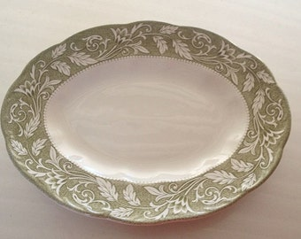 Vintage English Sterling Ironstone Platter Renaissance Pattern, meat platter, green and white floral with scalloped edges
