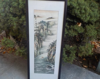 Asian Water Color, Scroll, Lithograph ? Not Sure Mountain Scene with 1 Boats Picture #2 / NOT INCLUDED In Any Discount or Couon Sales