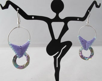 Crystal Cosmic Rings on Butterfly Woven Bails and Fish Hook Ear Wires