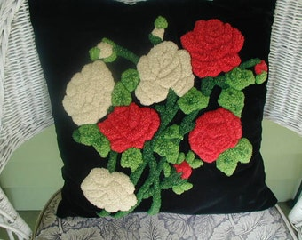 Vintage Black Velvet Throw Pillow, Deep Chenille Needle Punched Flowers, OOAK, Hand Made