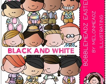 Easter clip art - Bobbleheadz - BLACK AND WHITE