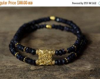 20% OFF Blue Stone Bracelet, Gold Bracelet, Tribal Bracelet, Stretchy Bracelet, Beaded Bracelet, Stretchy Bracelet, Layering Bracelets, Bohe