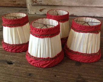 Red and White Lampshades, French Shabby Chic Fabric Lampshades Set of 4