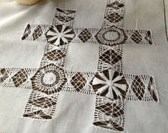 French White Linen Tablecloth, Drawnwork Small Square Runner