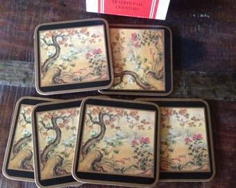 Set of 6 Drink Coasters, Pimpernel Cork Backed Coasters, Meadow Flowers, Original Box