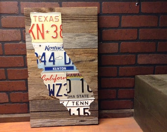 License Plate State Art - Pick Your State - Vintage License Plate Wall Art - Barn Wood - reclaimed wood -
