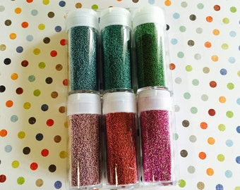Microbead Set / Microbead Glitter Red, Green, Blue, Gold for Mixed Media, Altered Arts, Journals, Crafts, Tags, Cards, etc.
