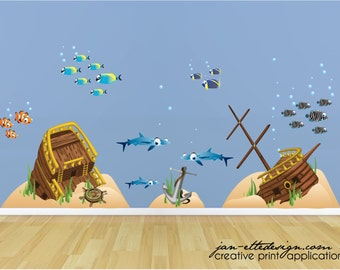 Kid Ocean Wall Decals,Fish and Underwater Shipwreck Scene,Removable and repositionable fabric Decals