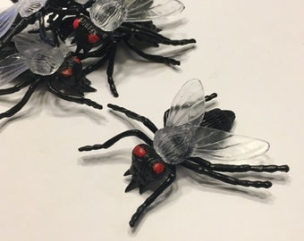 5 large rubber flies insects, 30 mm (AA1)