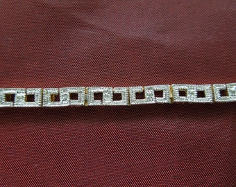 Vintage Tennis Bracelet Gold Tone and Silver Tone with Clear Rhinestones.  7.5 Inches. Excellent Condition