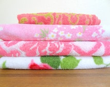 Vintage Mismatched Bath Towel Set Green and Pink Florals