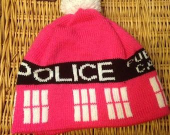 Pink Police Box Pom Pom Beanie Hat - Small