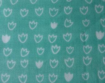 1/2 Yard Organic Cotton Fabric - Cloud 9 Fabrics, Vignette, Tulip Turquoise