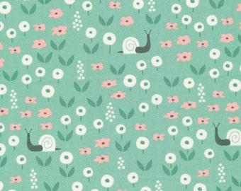 1/2 Yard Organic Cotton Fabric - Cloud 9 Fabrics, Park Life, Sunday Stroll Green
