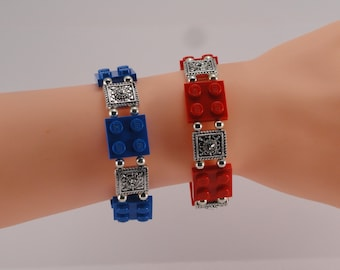 Lego Bracelet silver gem spacer beads