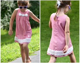 Girls Dress PDF Sewing Pattern - The Lily- toddler dress, gorgeous, cute, easy beginners, pleated front, lace trim, pdf sewing pattern