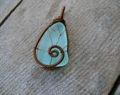 Genuine sea glass, aqua sea foam, Birthday gift, sea glass pendant, brown copper wire, wire wrapped pendant, sea glass jewelry, sea stone