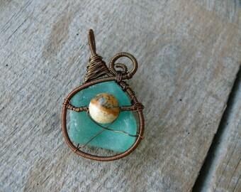 Sea glass pendant, Jasper jewelry, genuine sea glass aqua sea foam, wire wrapped pendant, brown copper wire, Birthday gift