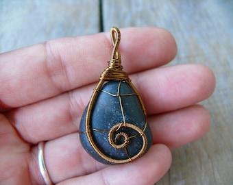 Black sea stone pendant, genuine sea stone, wire wrapped sea stone pendant, sea stone jewelry, beach stone pendant, Brown Copper Wire