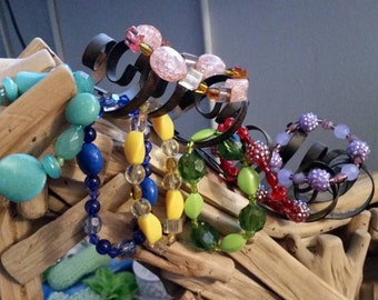 Colorful beaded stretch bracelet, multiple colors