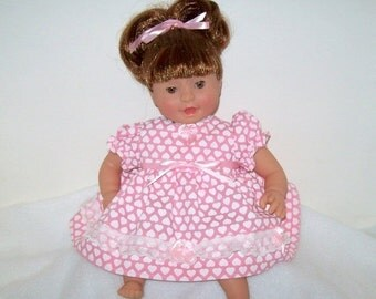 Happy Valentines Day Baby Doll Pink Valentine Hearts Dress with White Lace Trim and Decorative Bows for Small Baby Dolls 12 to 14 Inches