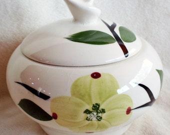 Vintage 1950s Blue Ridge Dixie Dogwood covered sugar bowl