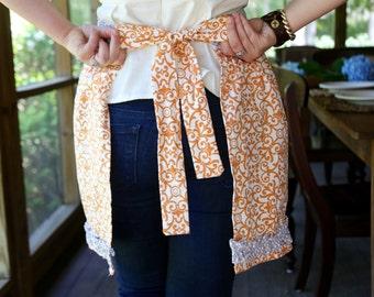 Orange and gray apron